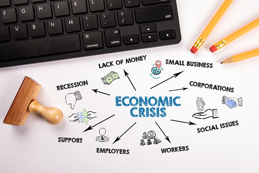 istock Economic Crisis. Recession, Lack Of Money, Social Issues and Support concept 1214878459