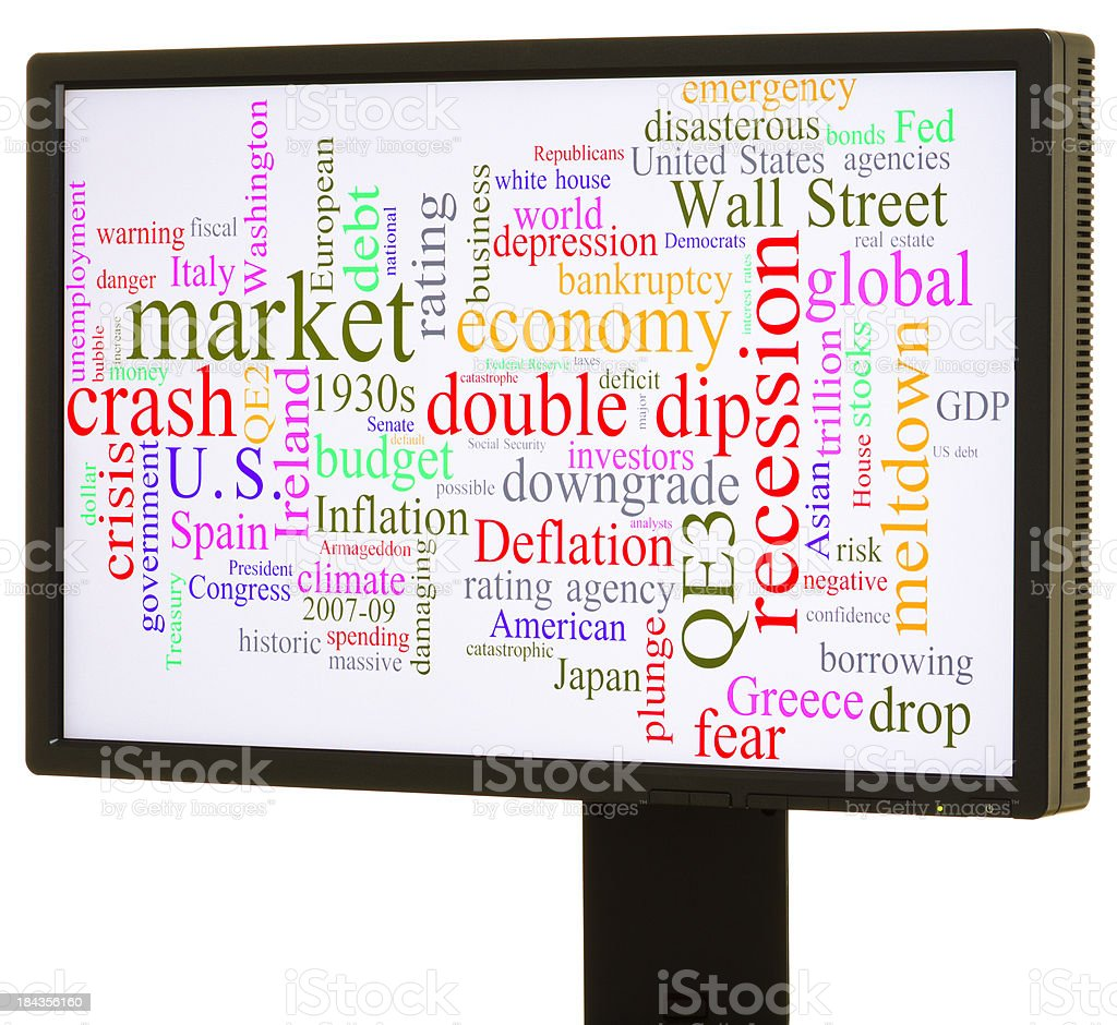 Economic crisis word cloud royalty-free stock photo