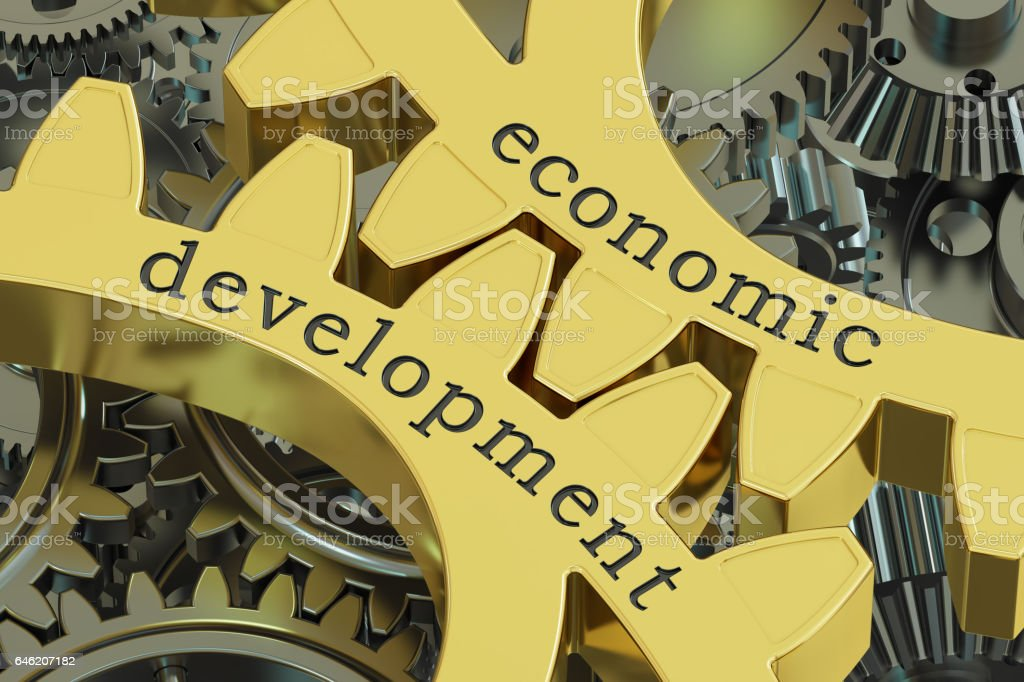 Economic Development concept on the gearwheels, 3D rendering stock photo