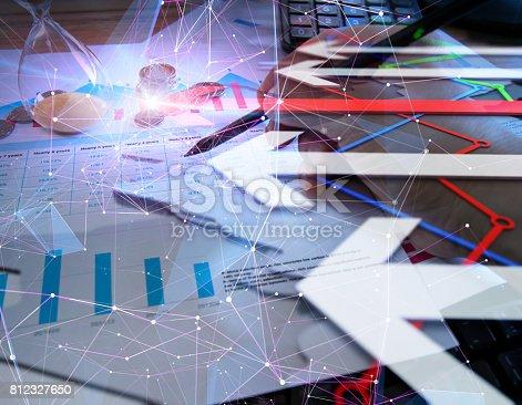 istock Economic development, stock market data, financial technology and networks 812327650