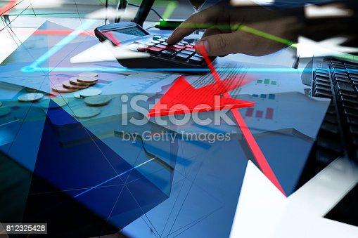 istock Economic development, stock market data, success arrows 812325428