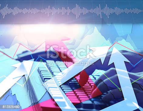 istock Economic development, stock market data, success arrows 812325460