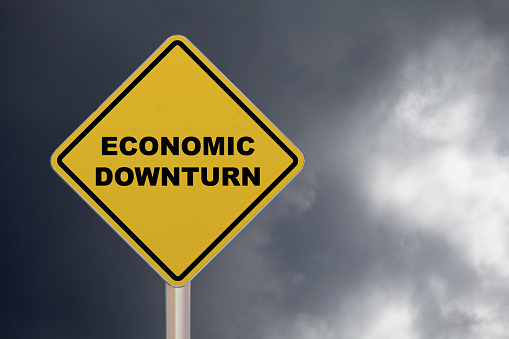 Economic Downturn Crossing Sign Stock Photo - Download Image Now