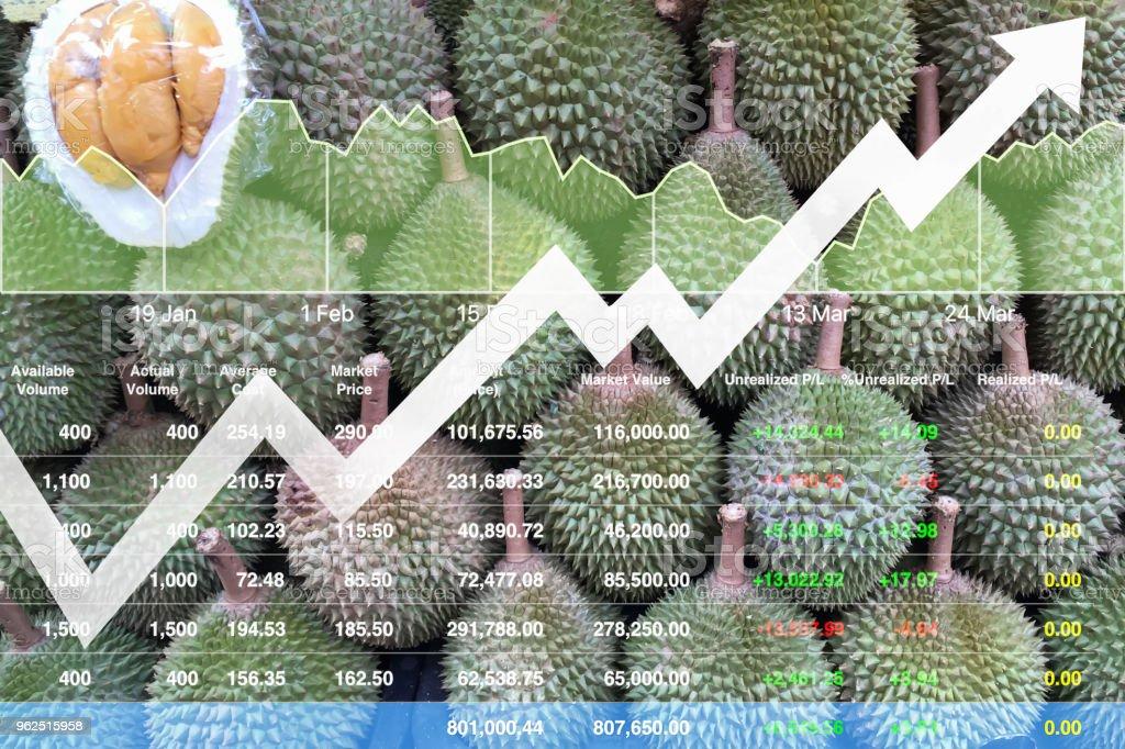 Crescimento econômico financeiro de índice de ações na Ásia frutas exportação mercado fundo mostrado gráfico e gráfico com dados de análise de apresentação. - Foto de stock de Agricultor royalty-free
