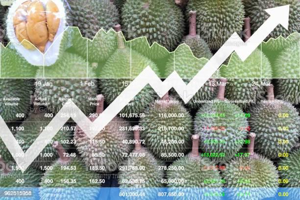 Foto de Crescimento Econômico Financeiro De Índice De Ações Na Ásia Frutas Exportação Mercado Fundo Mostrado Gráfico E Gráfico Com Dados De Análise De Apresentação e mais fotos de stock de Agricultor