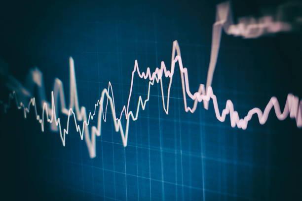 Ticari ve finansal kavramlar ve raporlar için borsada diyagramlar ile ekonomik grafik. Soyut Mavi arka plan. stok fotoğrafı