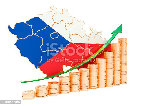 istock Economic growth in Czech Republic concept, 3D rendering isolated on white background 1139547857