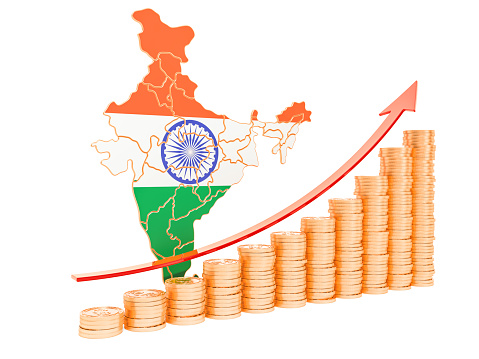 istock Economic growth in India concept, 3D rendering isolated on white background 1139547766