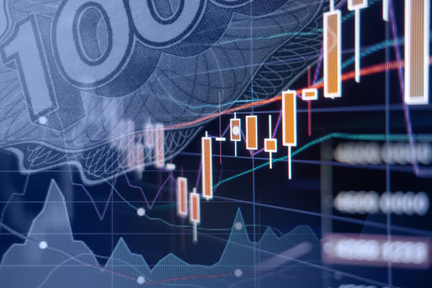 Economic growth - Stock market graphs and charts stock photo