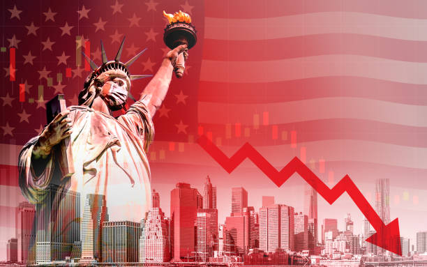 Economic recession during the coronavirus outbreak in United States Concept of economic recession during the coronavirus outbreak in United States, downtrend stock with red arrow and The Statue of Liberty with mask background liberty island stock pictures, royalty-free photos & images