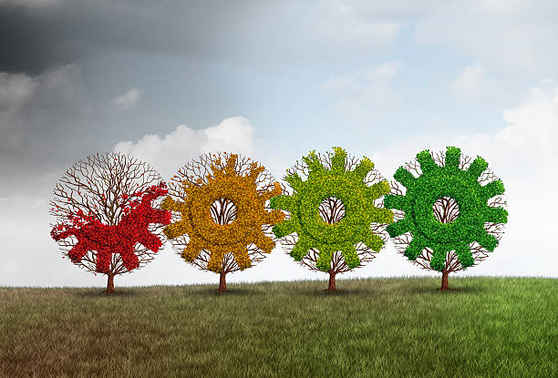 Economic Recovery Concept Economic recovery concept business growth metaphor as a group of recovering trees shaped as a gear or cog as a financial revitalization metaphor with 3D illustration elements. revival stock pictures, royalty-free photos & images