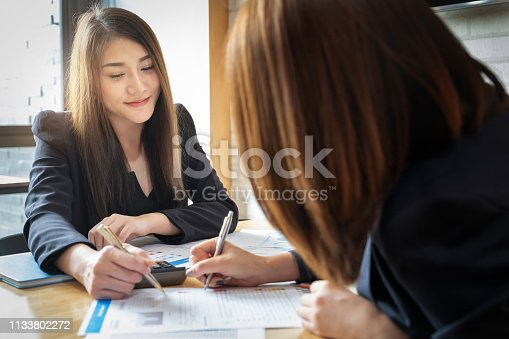 istock Economic research discussions, Business team analyzing income charts and graphs to plan marketing for analysis. 1133802272