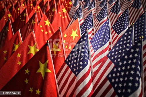 Many American and Chinese national flags together