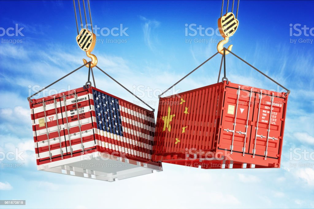 Economic trade war between USA and China stock photo