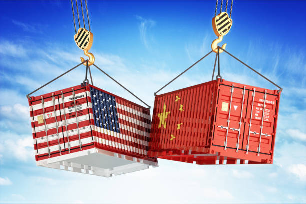 Economic trade war between USA and China - foto stock