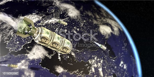 Financial and economic war concept with dollar bomb on globe earth. All the world map textures are originally from NASA. (3d render)