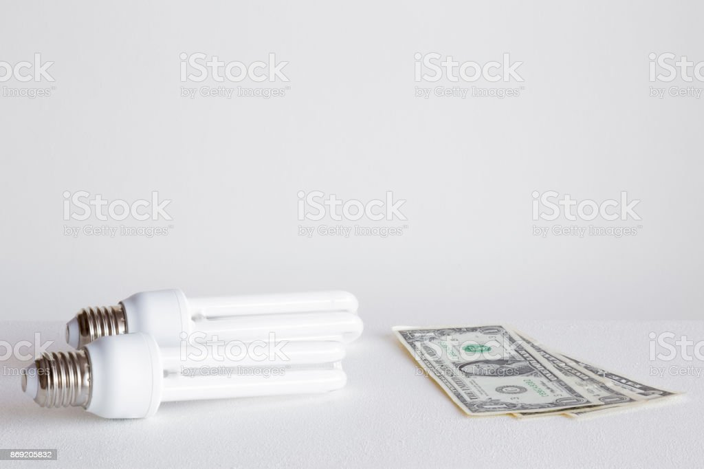 Economical fluorescent light bulbs with american dollars on the gray background. Electricity payment concept. Empty place for a text and other ideas. stock photo