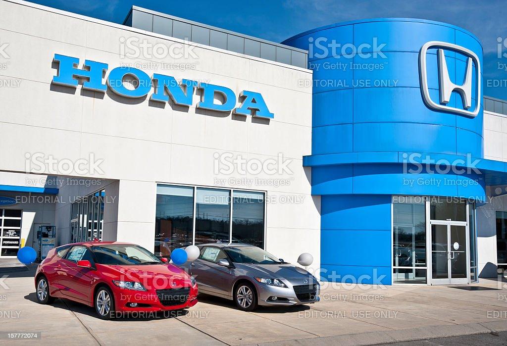 Economical Hybrid Vehicles On Display At Honda Dealership stock photo