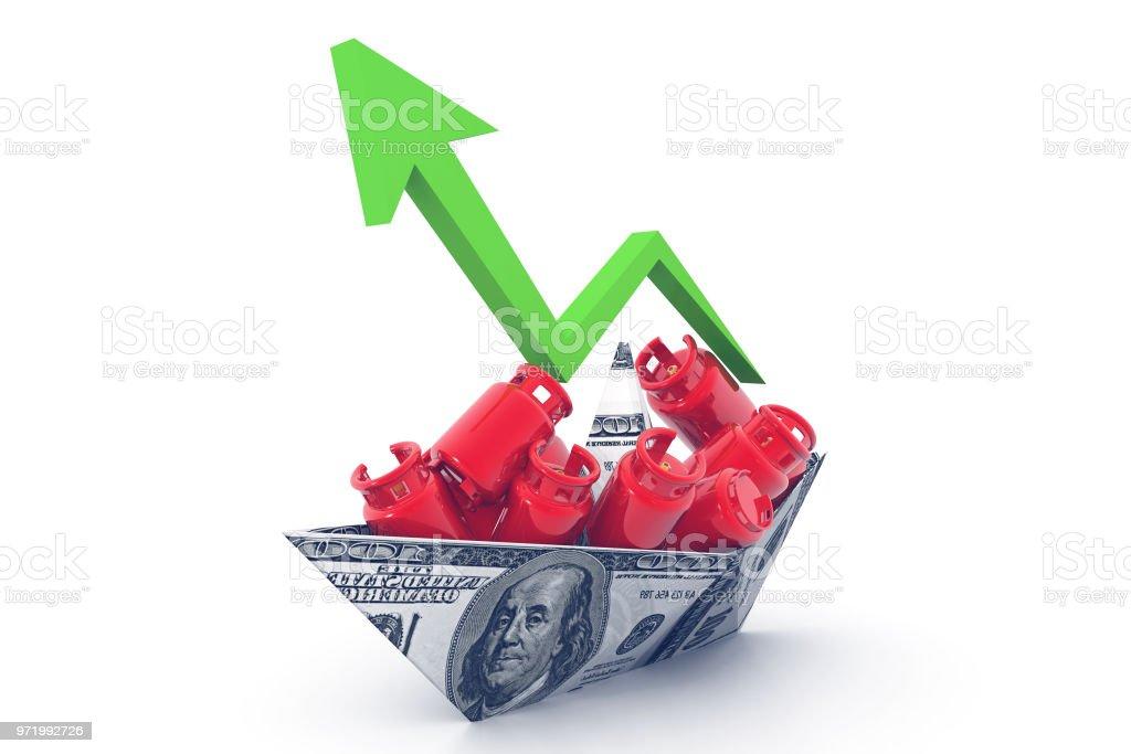 Economical LPG gas price chart stock photo