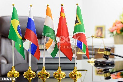 istock BRICS economy and policies concept : Flags of BRICS or group of five major emerging national economy i.e Brazil, Russia, India, China, South Africa. BRICS members are all leading developing countries. 868638158