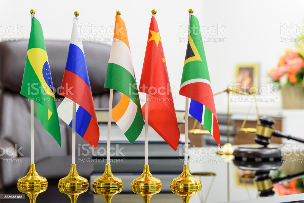 BRICS economy and policies concept : Flags of BRICS or group of five major emerging national economy i.e Brazil, Russia, India, China, South Africa. BRICS members are all leading developing countries. stock photo