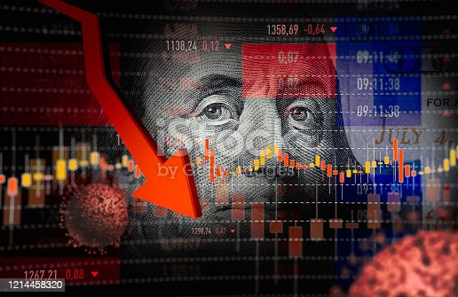 Virus, Stock Market Crash, US Paper Currency, Exchange Rate, Moving Down