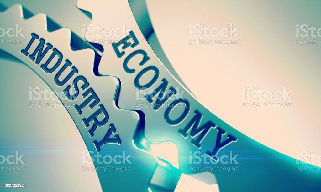 Economy Industry - Mechanism of Shiny Metal Cogwheels. 3D stock photo