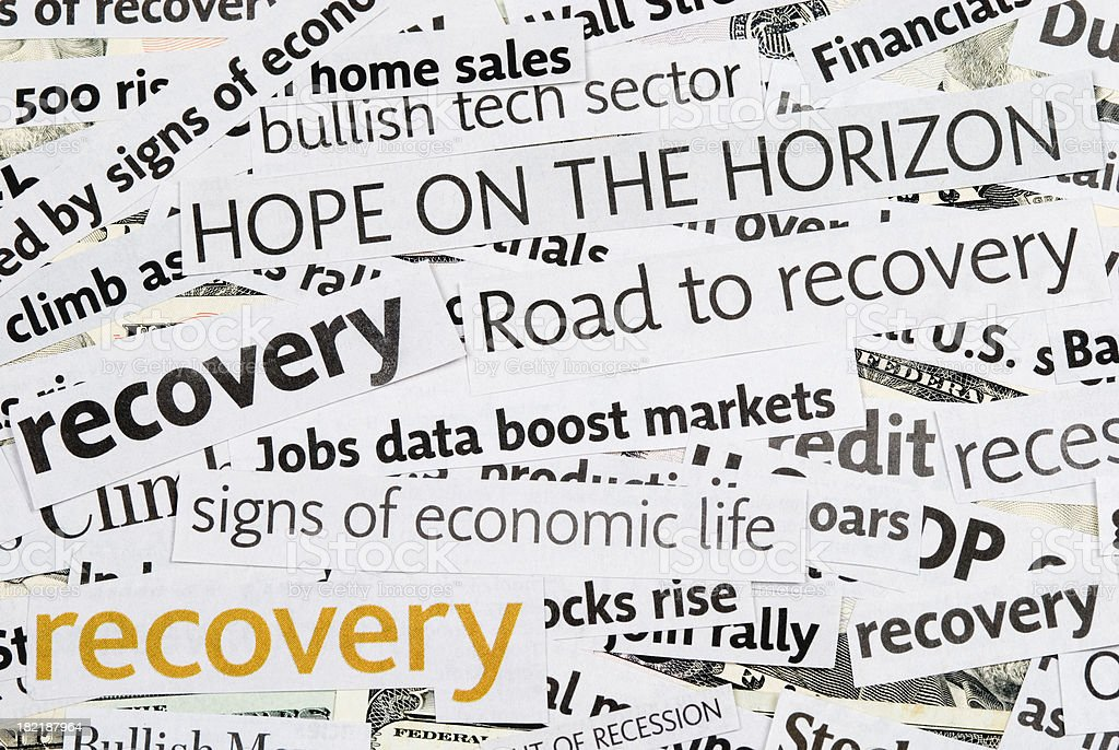 Economy recovery: News Headlines - III stock photo