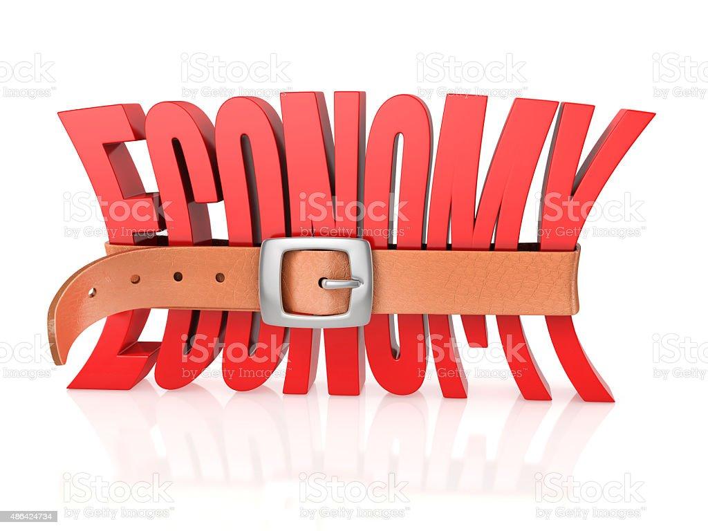 economy with tighten belt stock photo