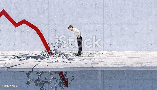 man look red 3d arrow broke the floor