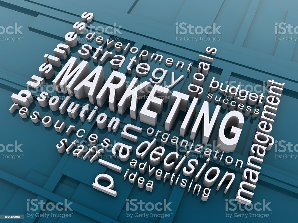 Economy-themed word cloud centered around marketing royalty-free stock photo