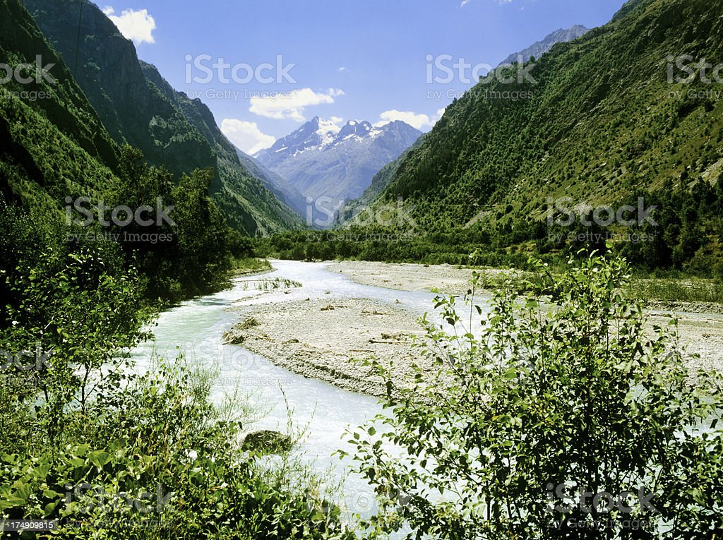 ecrins valley the french alps stock photo