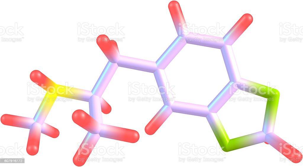 Éxtasis estructura molecular aislado sobre blanco - foto de stock