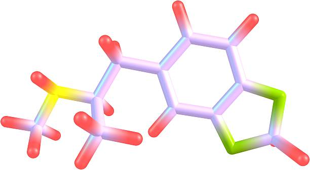 ecstasy molecular structure isolated on white - amfetamine stockfoto's en -beelden