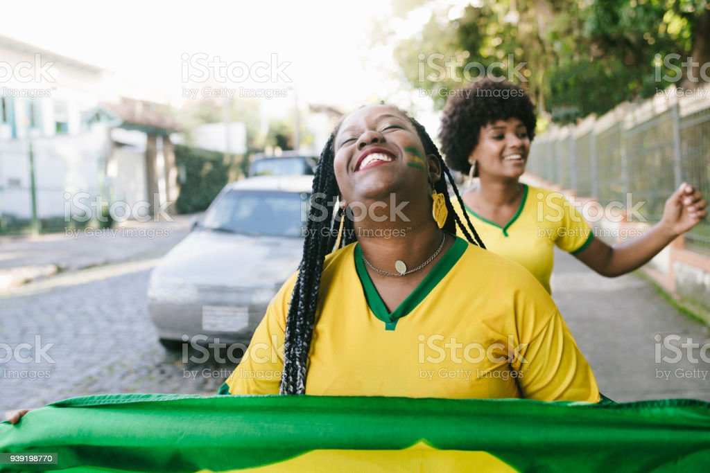 Ecstasy over Brazil's victory stock photo