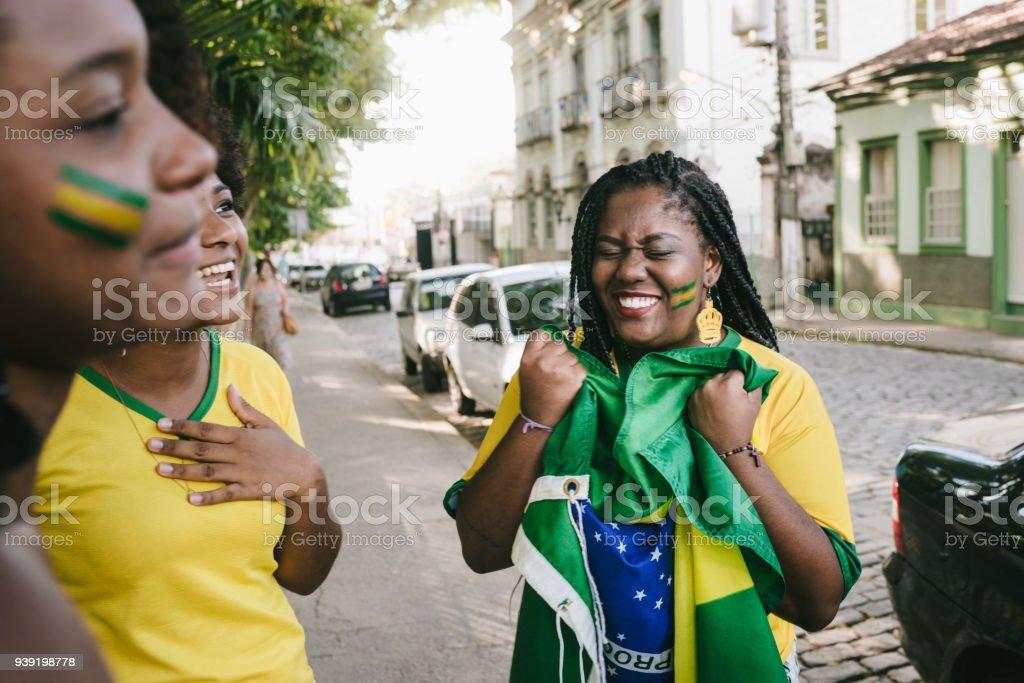 Ecstasy over Brazil's victory stock photo