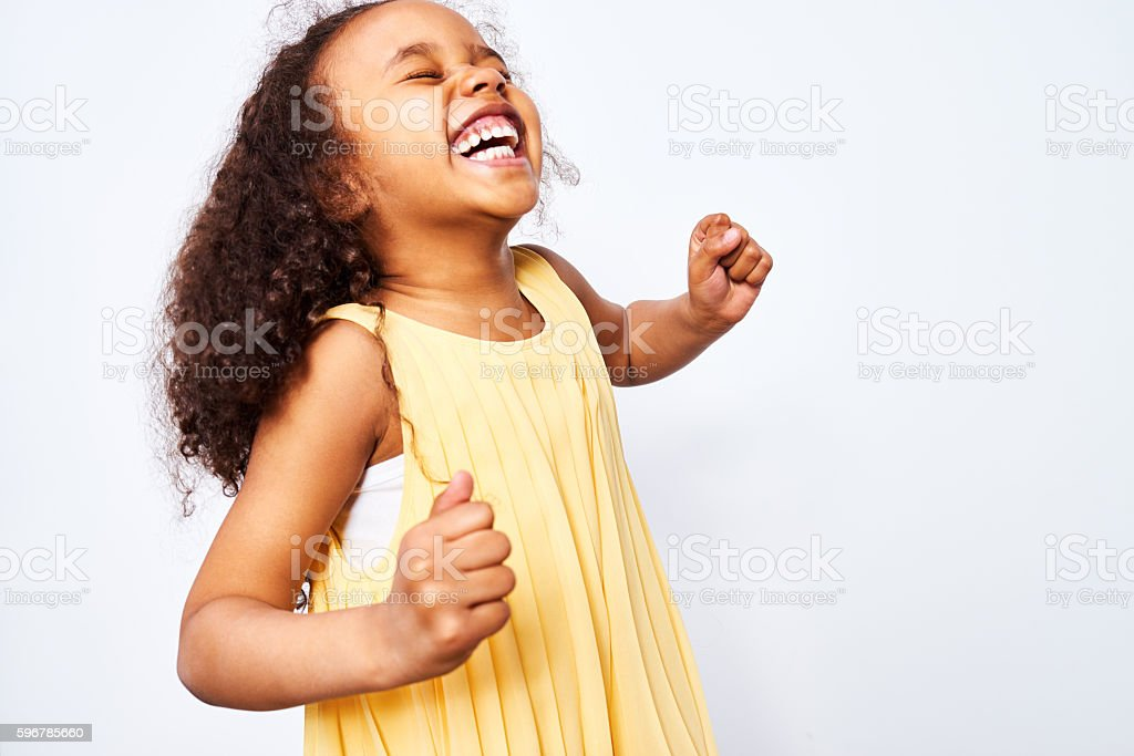 Ecstatic African-American Girl stock photo