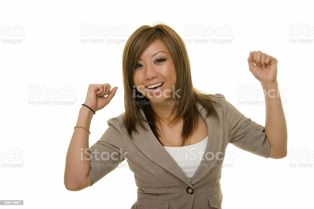 Ecstatic Asian Business Woman royalty-free stock photo