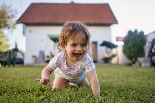 Ecstatic baby girl crawling on grass outdoors in a back yard in summer stock photo