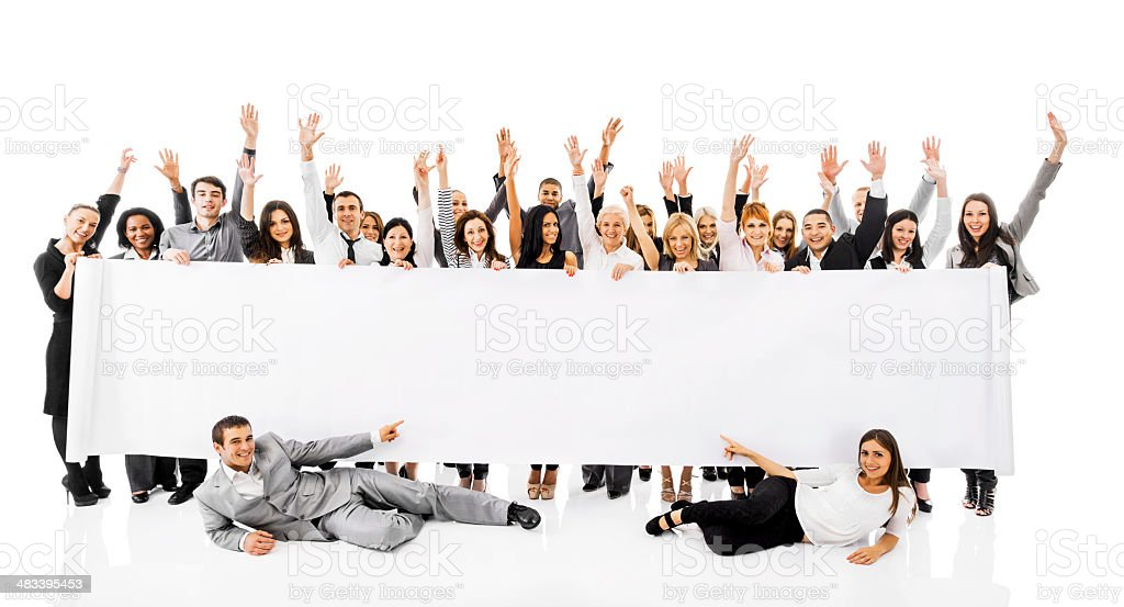 Ecstatic business people holding banner. royalty-free stock photo