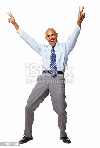 613525808 istock photo Ecstatic Businessman - Isolated 175547405