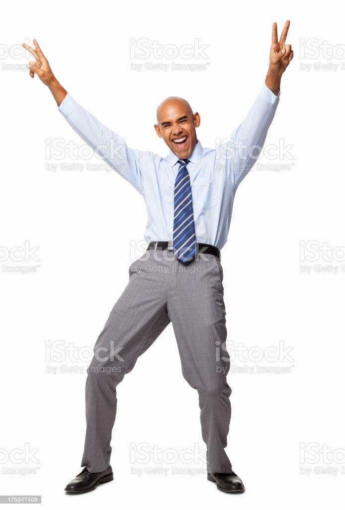 Ecstatic Businessman - Isolated stock photo
