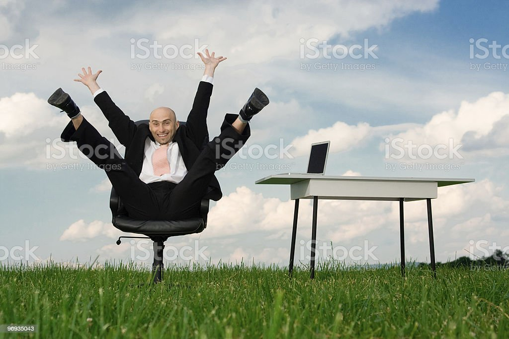Ecstatic businessman royalty-free stock photo