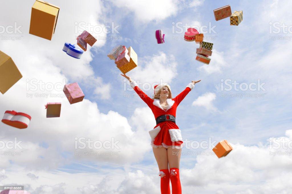 Ecstatic Christmas stock photo