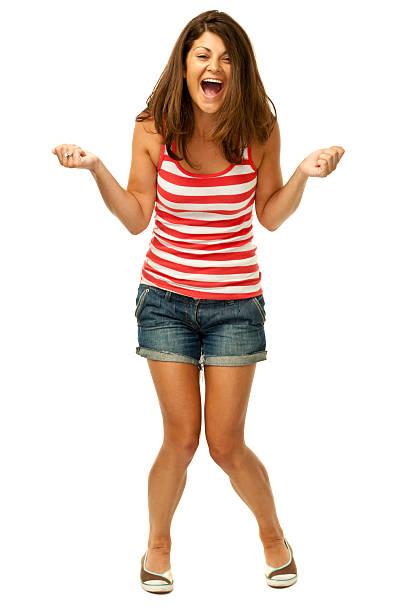 Eufórico feliz mujer joven - foto de stock