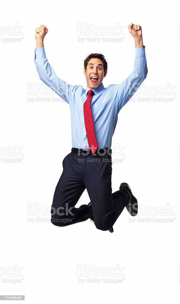 Ecstatic Male Professional Jumping In Mid-air - Isolated royalty-free stock photo