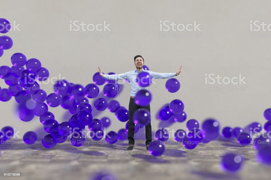 Ecstatic man with abstract violet flowing spheres stock photo