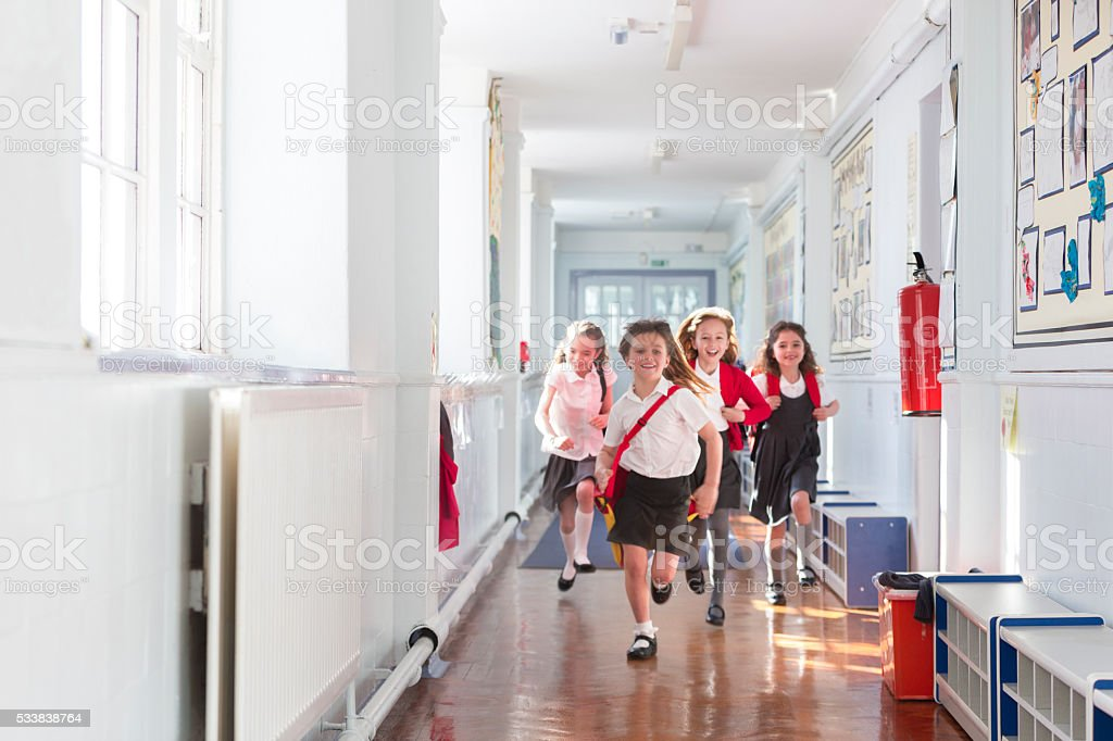 Ecstatic Schoolgirls stock photo
