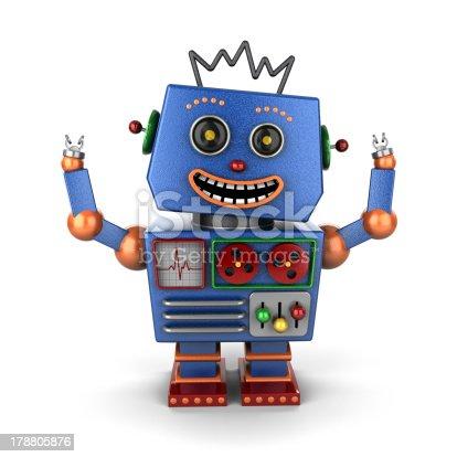 istock Ecstatic vintage toy robot 178805876