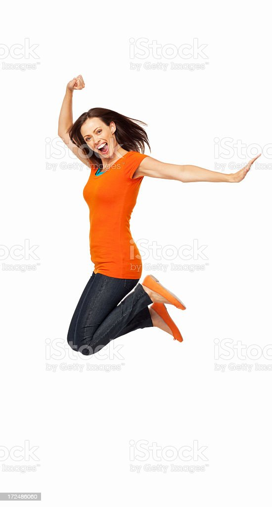 Ecstatic Young Female - Isolated royalty-free stock photo